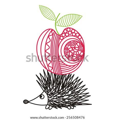 Hedgehog with apple cute cartoon outline vector illustration - stock vector