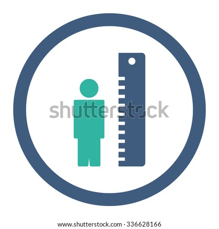 Height Meter vector icon. Style is bicolor flat rounded symbol, cobalt and cyan colors, rounded angles, white background.