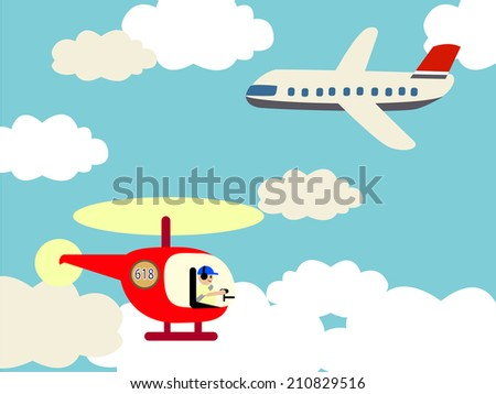 Helicopter and airplane on the sky with clouds  - stock vector
