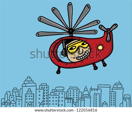 helicopter in city - stock vector