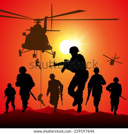 Helicopter is dropping the troops. Vector illustration - stock vector