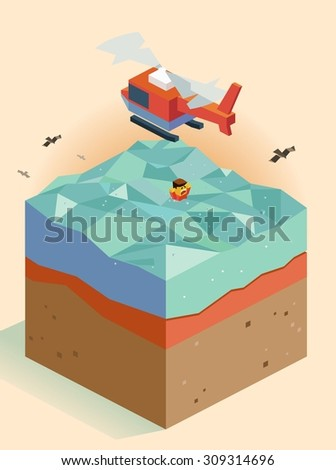 Helicopter rescues a victim at sea. isometric art - stock vector