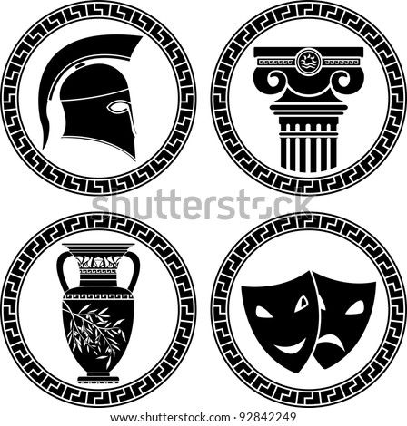 hellenic buttons. stencil. second variant. vector illustration - stock vector