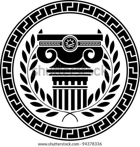 hellenic column and laurel wreath. vector illustration - stock vector