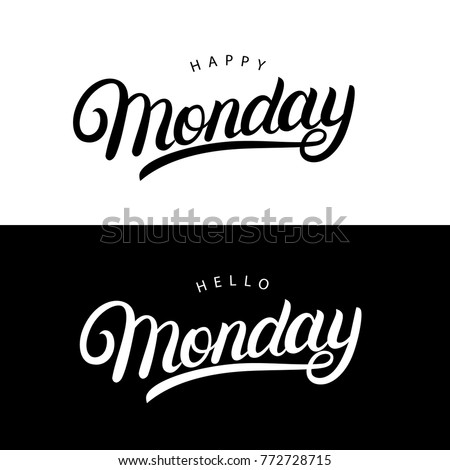 Hello happy monday hand written lettering hello and happy monday hand written lettering quotes for posterstee cards invitations voltagebd Images