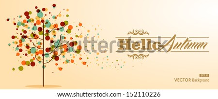 Hello autumn label text with transparent colorful bubbles tree. Useful as invitation or postcard background. EPS10 file with transparency for easy editing. - stock vector