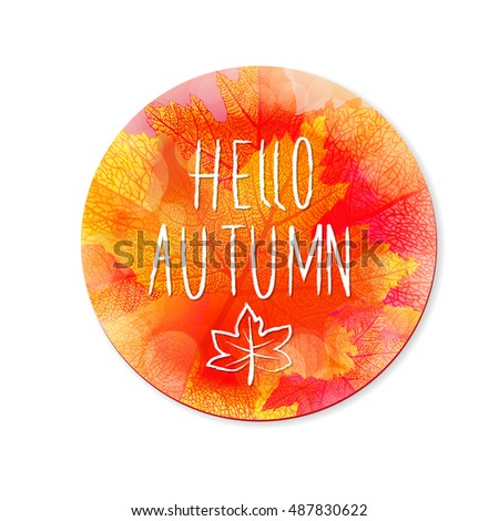 Hello autumn leaves and colors vector background