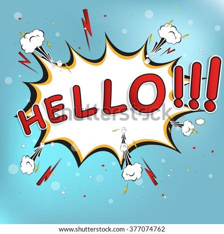 hello! bubble on burst background, Vector Illustration - stock vector