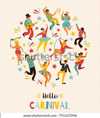 Hello Carnival. Vector illustration of funny dancing men and women in bright costumes. Design element for carnival concept and other users