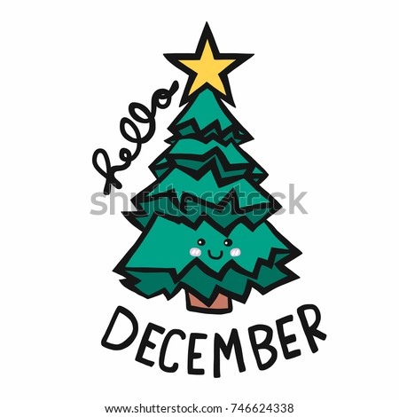 Hello December Christmas Tree Cartoon Vector Illustration