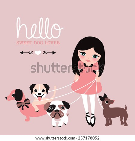 Hello dog lovers postcard little girl in dress walking her pug puppy dachshund and labrador illustration wall decor art for kids paper print design - stock vector
