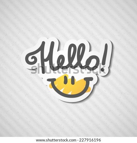 hello, handwritten text and smile on rough cardboard texture - stock vector