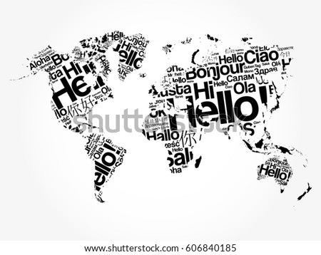 Hello different languages word cloud world stock photo photo hello in different languages word cloud world map business concept background gumiabroncs Choice Image