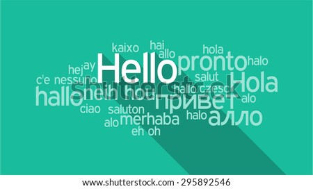 HELLO in different languages, words collage vector illustration. - stock vector