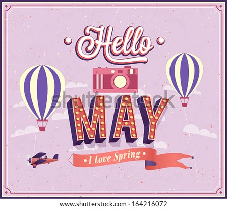 Hello may typographic design. Vector illustration. - stock vector