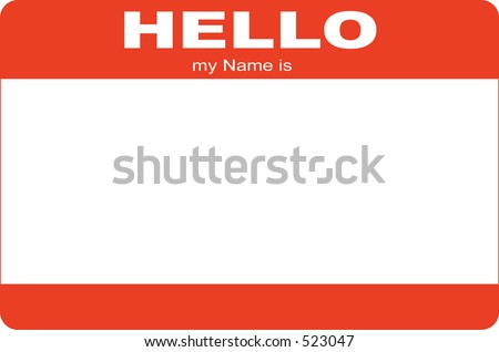 hello my name is, name card