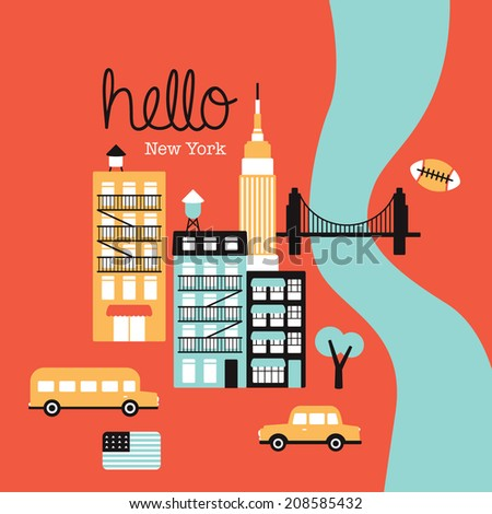 Hello New York Manhattan travel illustration icons of the city retro style postcard cover design in vector - stock vector