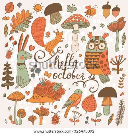 Hello October - sweet forest card with lovely wild animals : rabbit, hedgehog, squirrel, owl and birds. Stylish background with birds and animals in mushrooms, leafs and insects in orange colors - stock vector