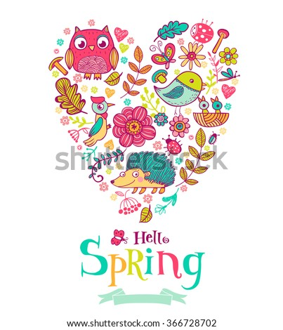 Hello Spring banner in doodle style, illustrations in the heart shape - stock vector
