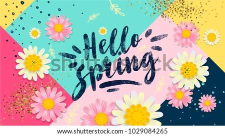 Hello Spring Banner Trendy Texture Season Stock Vector ...