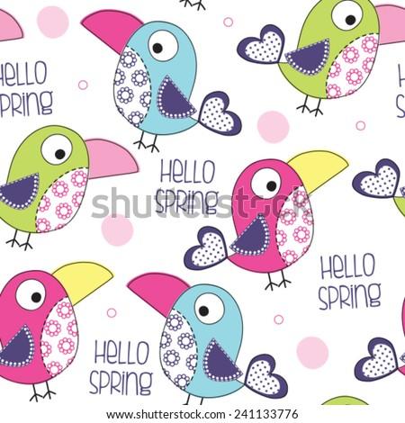 hello spring bird pattern vector illustration - stock vector