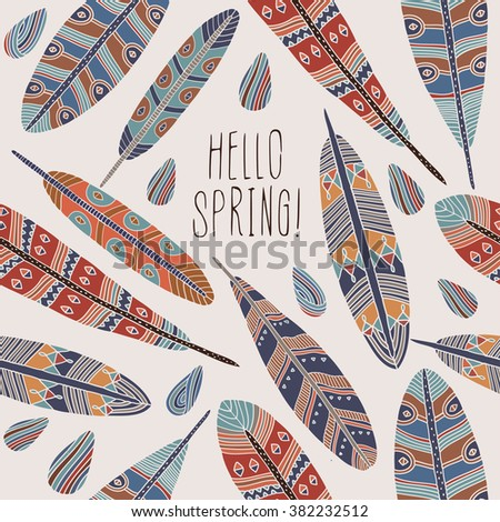 Hello spring card. Hand drawn vector illustration with colorful feathers. Pattern with hand drawn  - stock vector