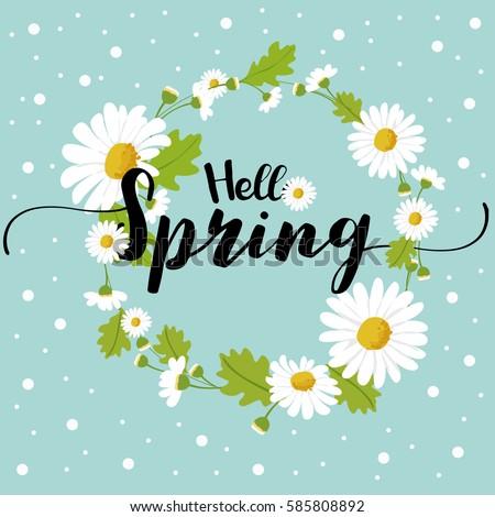 Hello spring daisy flower
