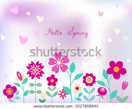 Hello spring floral background pretty flowers stock vector hello spring floral background pretty flowers leaves and plants in bright pink and green mightylinksfo