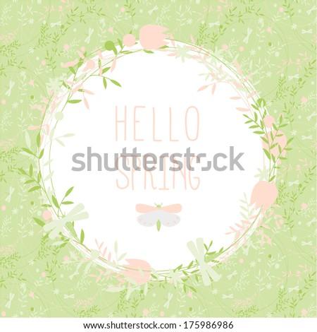 Hello spring greeting card - stock vector