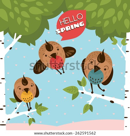 Hello spring. Greeting card with funny birds and tree vector illustration - stock vector