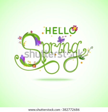 Hello Spring hand-drawn lettering on green background with butterflies and flowers. Vector illustration - stock vector