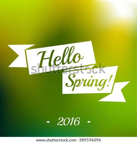 Hello Spring ribbon - stock vector