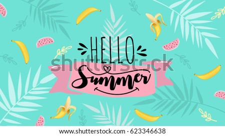 Hello Summer Banner Trendy Texture Season Vocation Weekend Holiday Logo