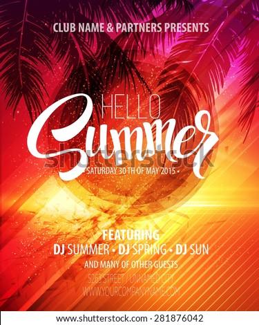 Hello Summer Beach Party Flyer Vector Stock-vektorgrafik 281876042 ...