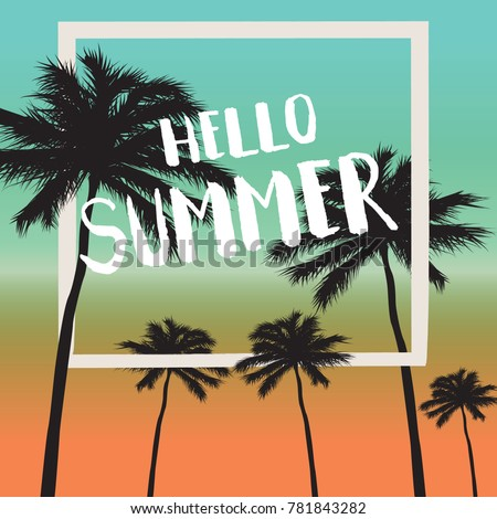 Hello Summer Card And Summer Background  Vintage Style