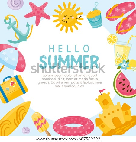Hello Summer Card Vector Illustration With Different Objects Lemonade Watermelon Ice