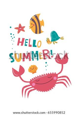 Cute Ocean Animals On Dark Background Stock Vector 396949045 - Shutterstock