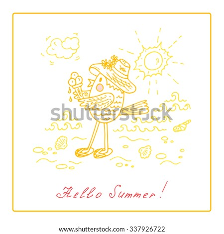 Hello Summer. Funny Cartoon Bird. Hand Drawn Doodles Vector Illustration