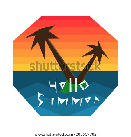 Hello summer geometric vector illustration. Summer holidays  set with sky, ocean and palm tree