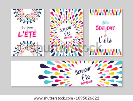 Hello Summer Greeting Card Set French Stock Photo Photo Vector