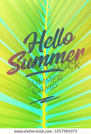 Hello Summer Holiday And Summer Camp Poster. Vector Illustration For Greeting  Card. Holiday Time