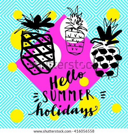 Hello Summer Holidays Hand Drawn Greeting Card. Modern Calligraphic Card On  Seamless Abstract Geometric