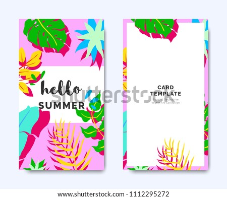 hello summer invitation card template design stock vector 1112295272