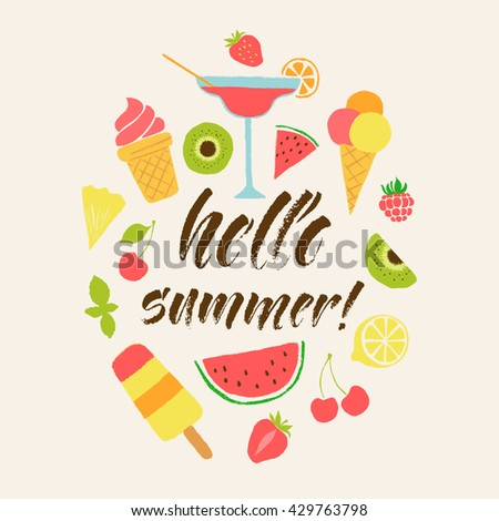 Hello summer lettering card hand drawn stock vector 429763798 hello summer lettering card hand drawn ink illustration phrase for prints and posters menu m4hsunfo