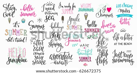 Hello Summer Lettering Typography Quote Set. Calligraphy Graphic Design  Element. Hand Written Style.