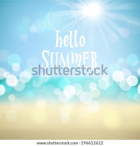 Hello summer. Poster on tropical beach background. Vector eps10. - stock vector