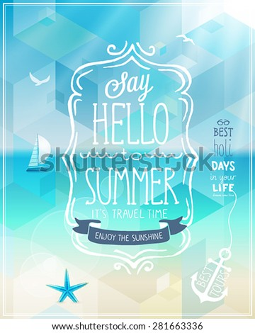 Hello summer poster with tropical background. - stock vector