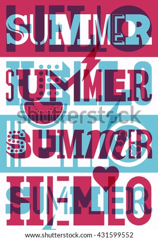 Hello Summer! Summer typographic retro poster design. Vector illustration.