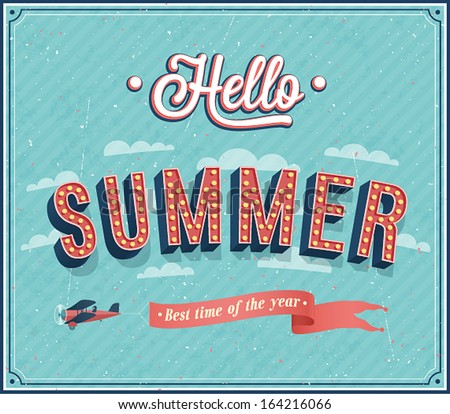 Hello summer typographic design. Vector illustration. - stock vector