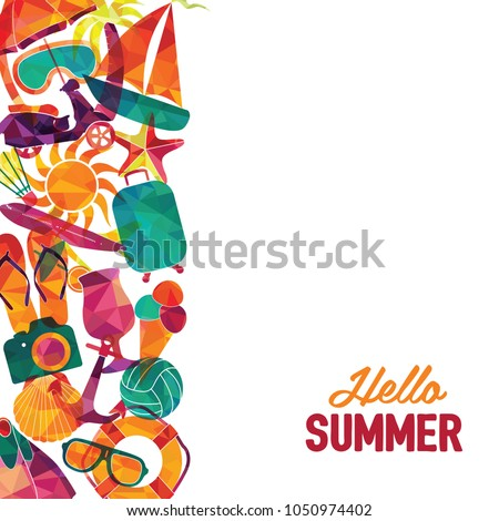 hello summer vector banner design travel stock vector 2018 rh shutterstock com summer vector art summer vector graphics